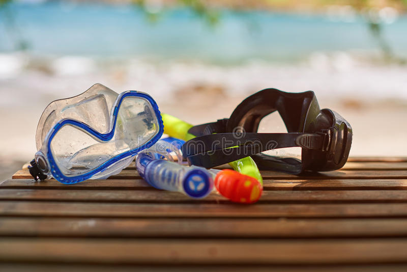 Colorful snorkel masks royalty free stock photo