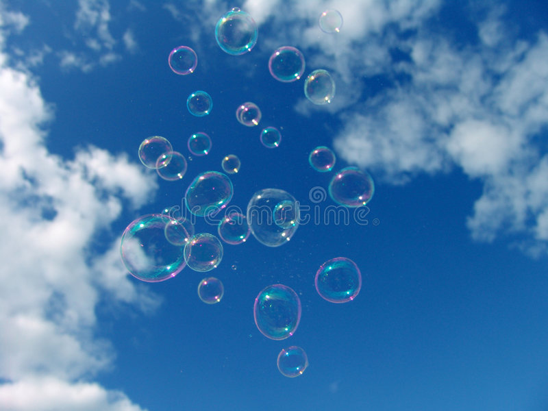 Colorful Soap Bubbles Blue Sky stock photography