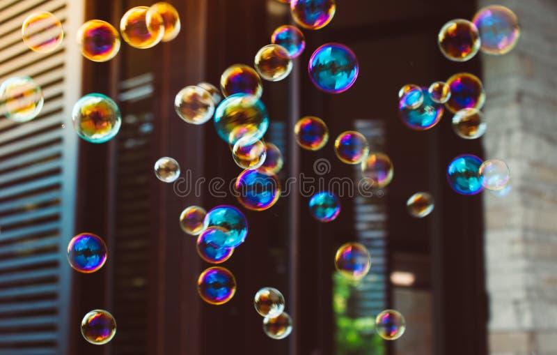 Colorful soap bubbles stock photos