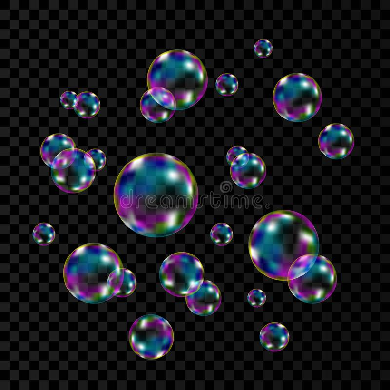 Colorful soap  bubbles with rainbow reflection. Realistic transparent colorful soap  bubbles with rainbow reflection isolated on checkered background. Vector royalty free illustration