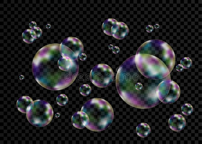 Colorful soap  bubbles with rainbow reflection. Realistic transparent colorful soap  bubbles with rainbow reflection isolated on checkered background. Vector stock illustration