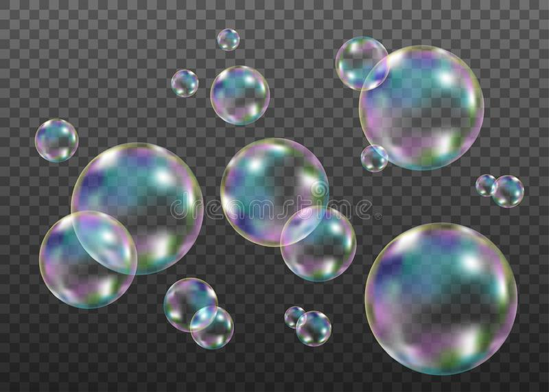Colorful soap  bubbles with rainbow reflection. Set of realistic transparent colorful soap  bubbles with rainbow reflection isolated on checkered background stock illustration