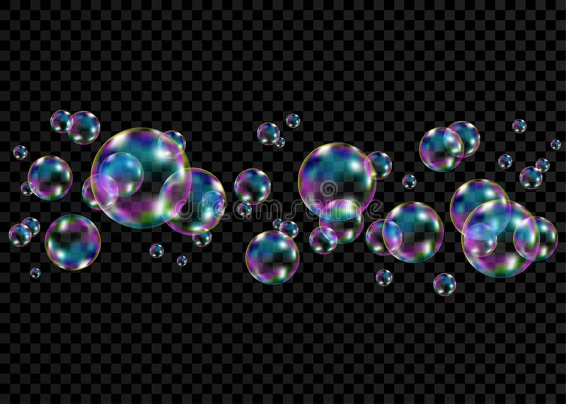 Colorful soap  bubbles with rainbow reflection. Set of realistic transparent colorful soap  bubbles with rainbow reflection isolated on checkered background vector illustration
