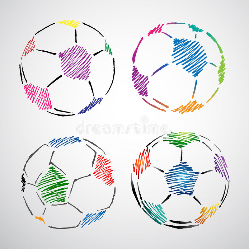 Colorful Soccer Ball Doodle vector illustration