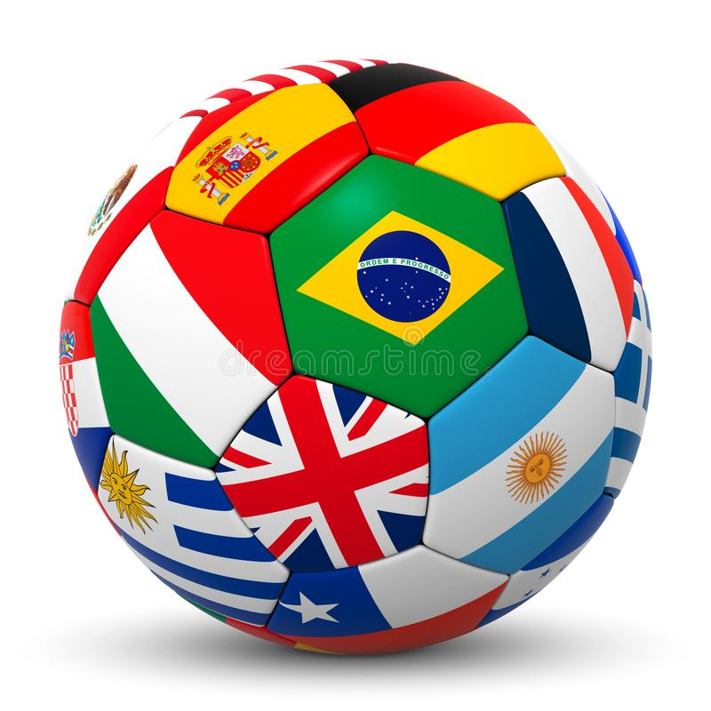 Colorful 3D Soccer Ball with International Flags vector illustration