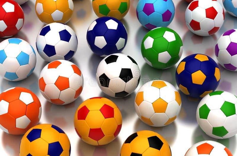 Colorful Soccer Balls vector illustration