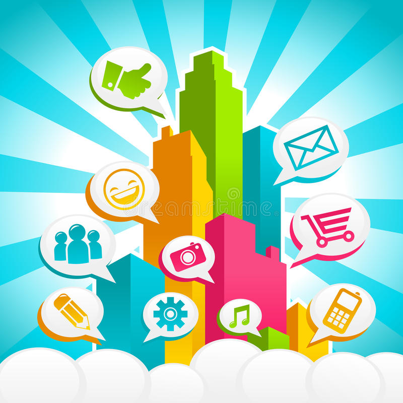 Colorful Social Media City royalty free illustration