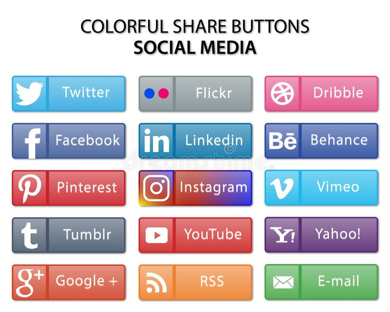 Colorful social media share web buttons royalty free illustration