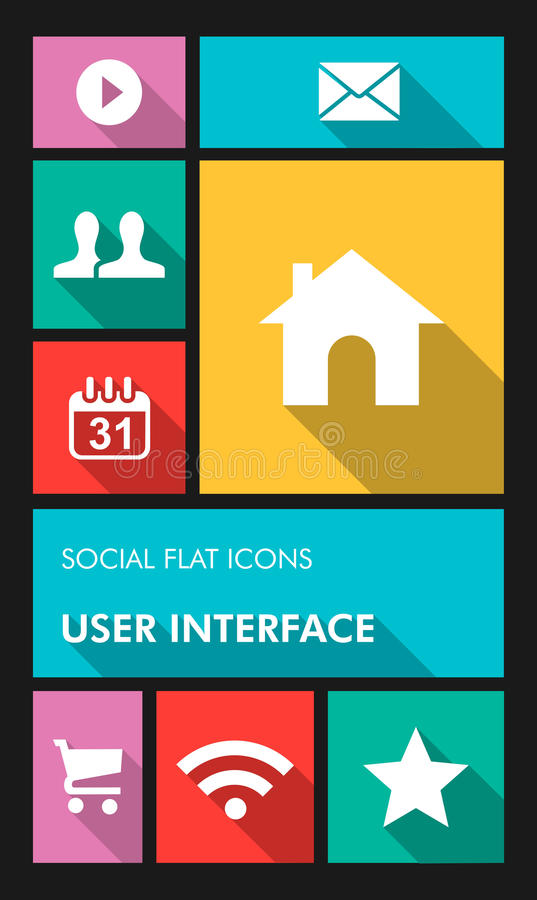 Colorful social media UI apps user interface flat stock image