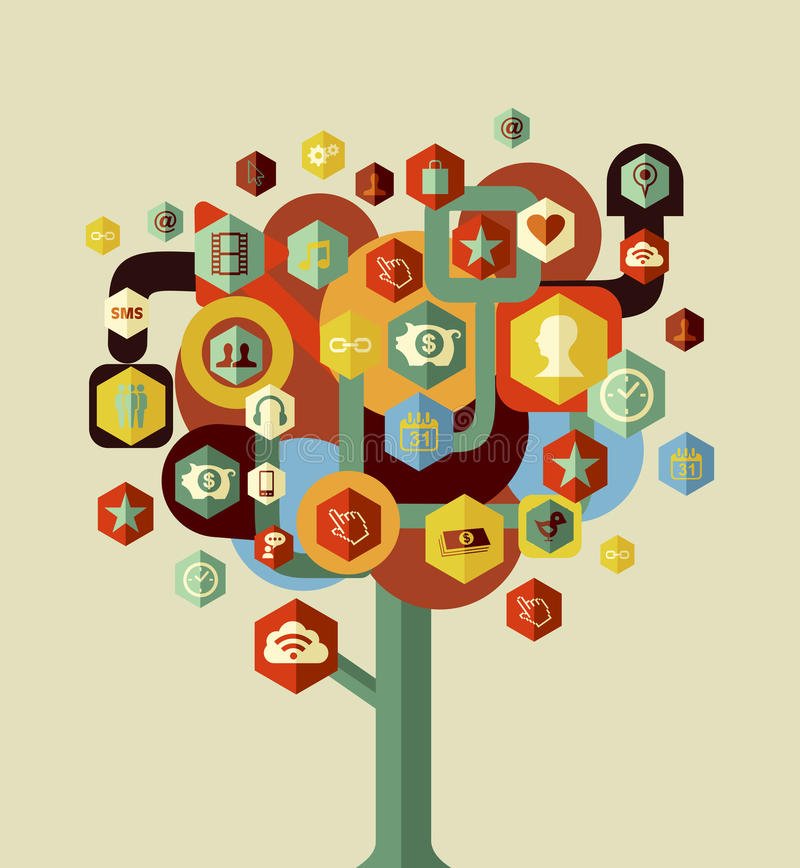 Colorful social network tree royalty free stock images