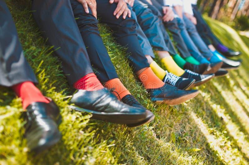 Colorful socks of groomsmen stock photo