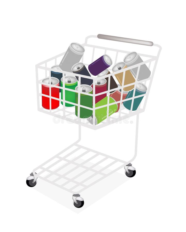 Colorful Soda Cans In A Shopping Cart Royalty Free Stock Images