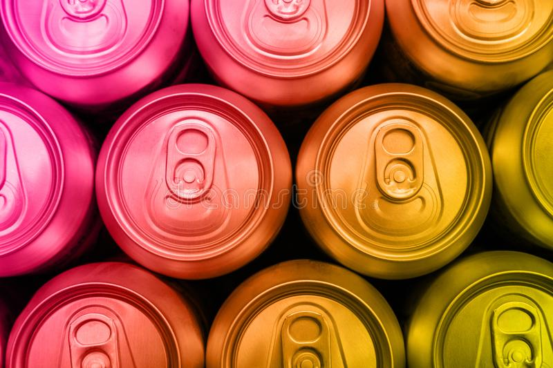 Colorful soda drinks cans overhead stock photo