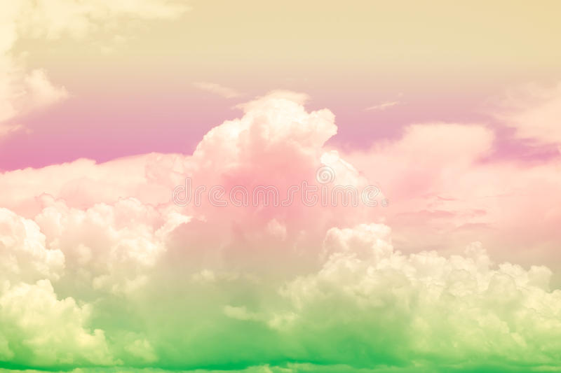 Colorful soft cloud and sky for background stock image