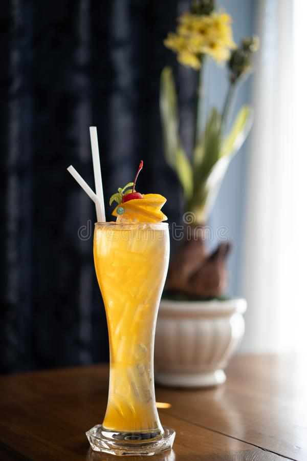 Colorful soft drinks, cocktail in long transparent glass stock photos