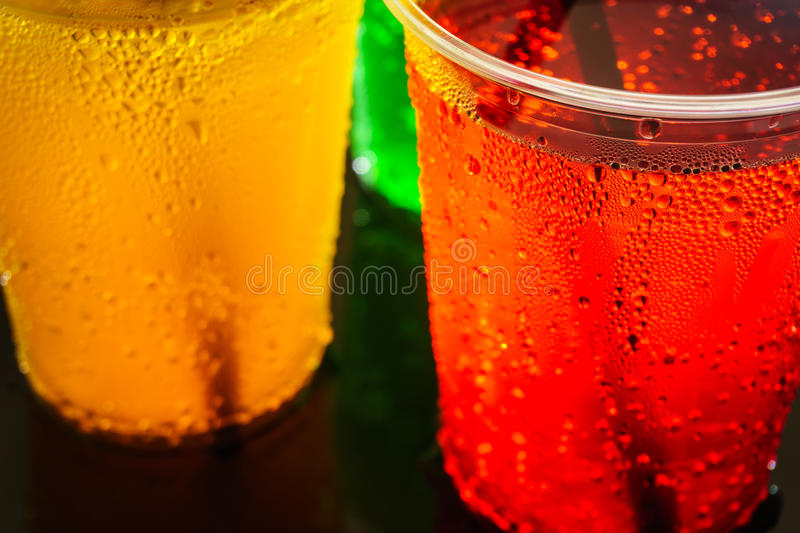 Colorful soft drinks royalty free stock photo