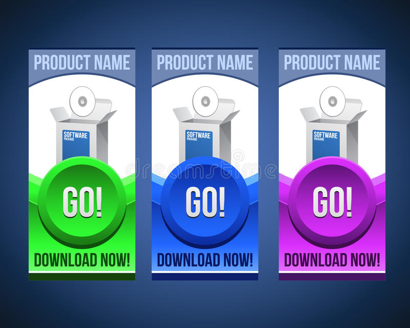 Colorful Software Banner Set With Big Button stock illustration