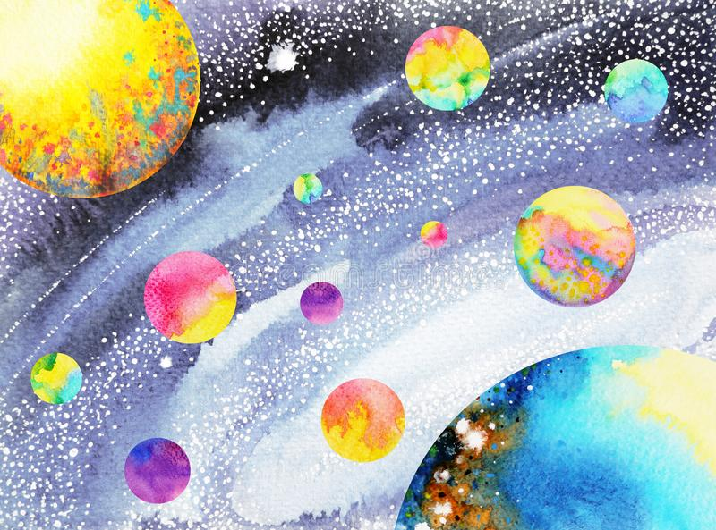 Colorful solar system in universe watercolor painting hand drawn. Color vector illustration
