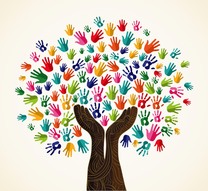 Colorful solidarity design tree stock illustration