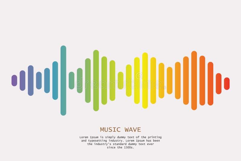 Colorful sound waves background. Isolated design symbol. Vector Illustration royalty free illustration