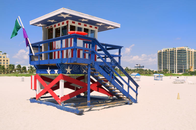 Colorful South Beach lifeguard hut royalty free stock images