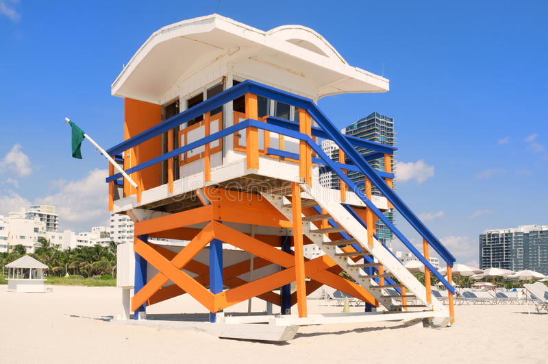 Colorful South Beach lifeguard hut stock photo