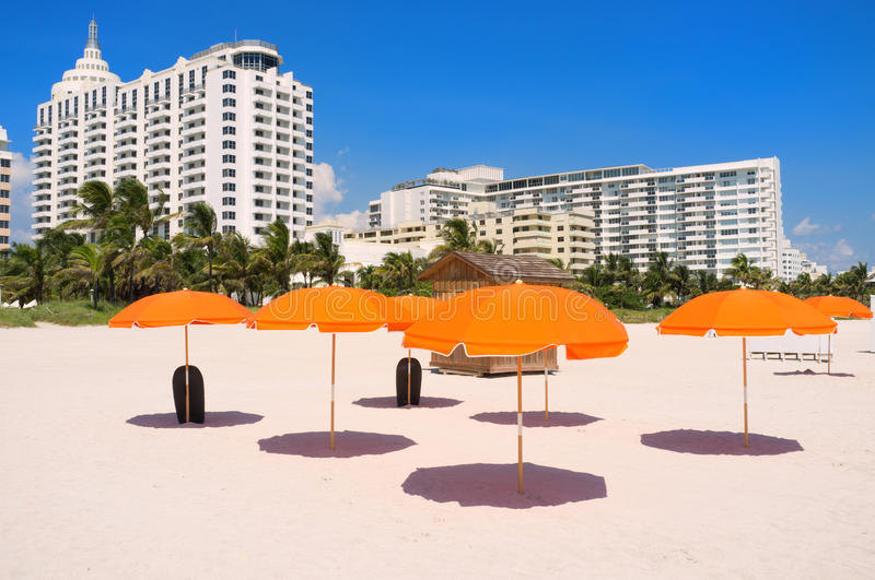 Colorful South Beach umbrellas stock photography