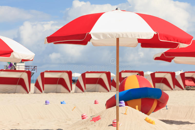 Colorful South Beach Umbrellas and Cabanas royalty free stock photo