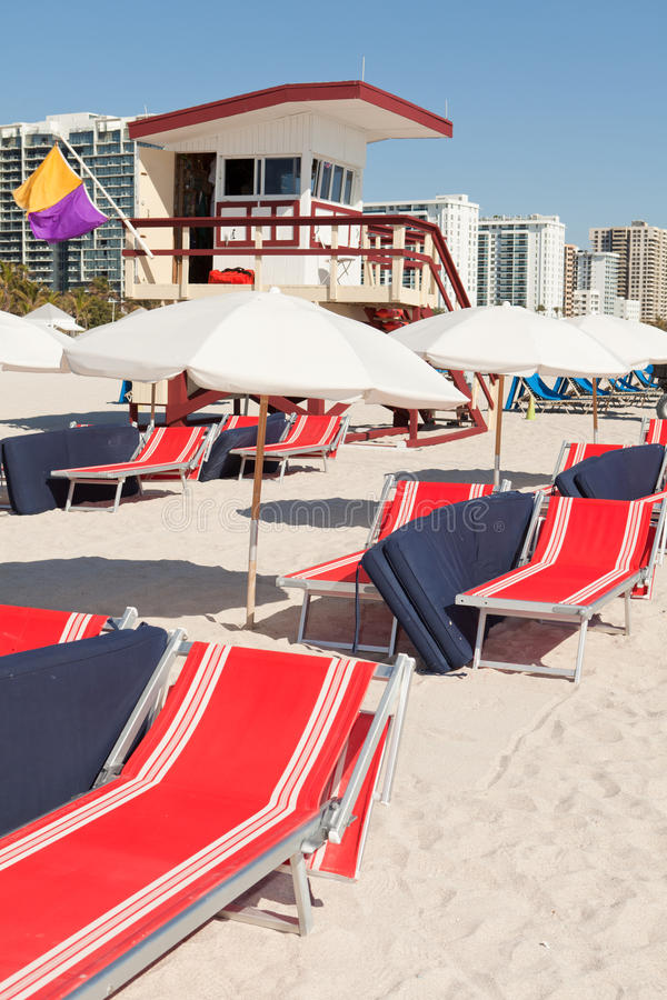 Colorful South Beach Umbrellas and Lounge Chairs royalty free stock images
