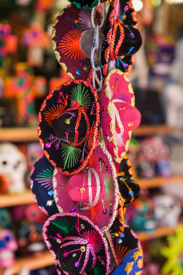 Colorful souvenirs of small traditional mexican royalty free stock image