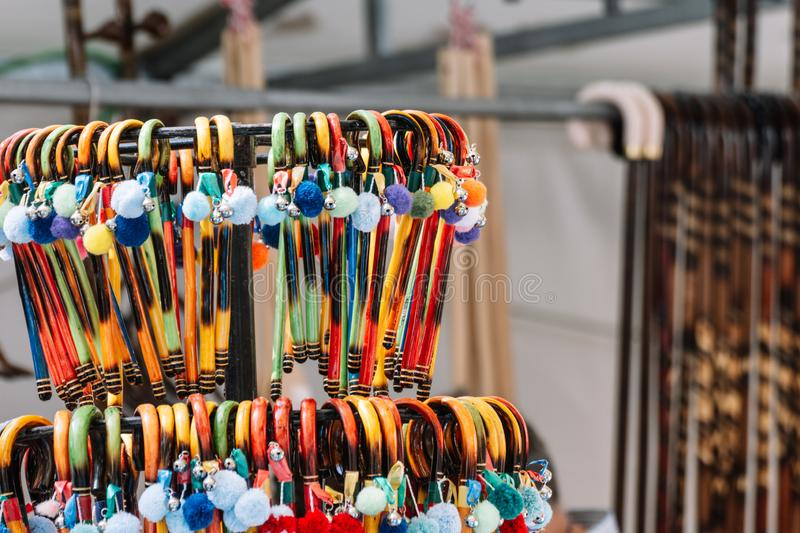 Colorful souvenirs from Xativa fair royalty free stock photos