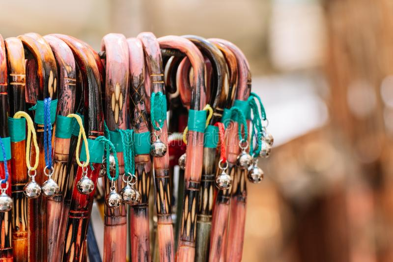 Colorful souvenirs from Xativa fair stock image