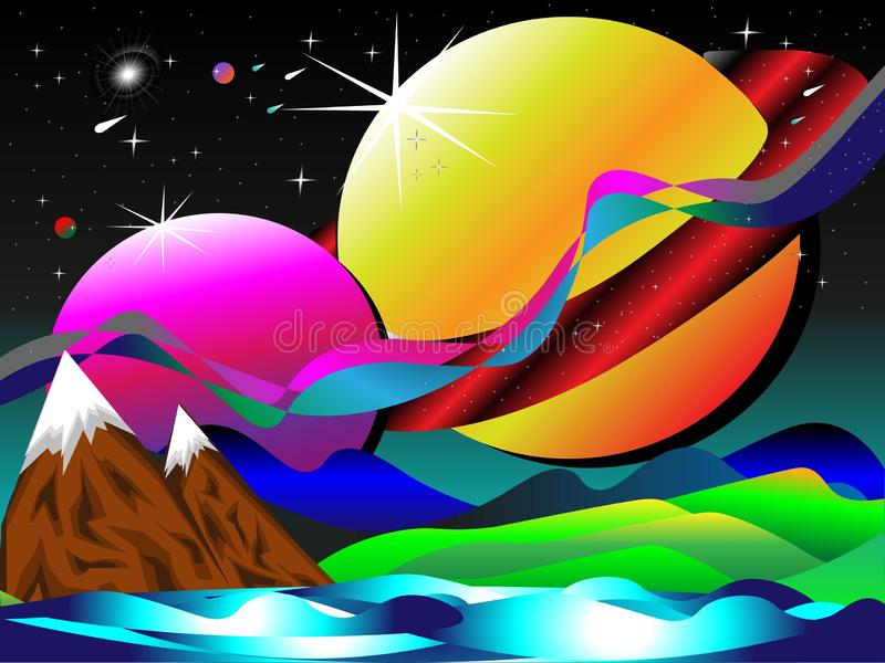Colorful space galaxy background with bright stars, planets, mountains, all in vector for works of art, brochures, posters, wallpa royalty free illustration