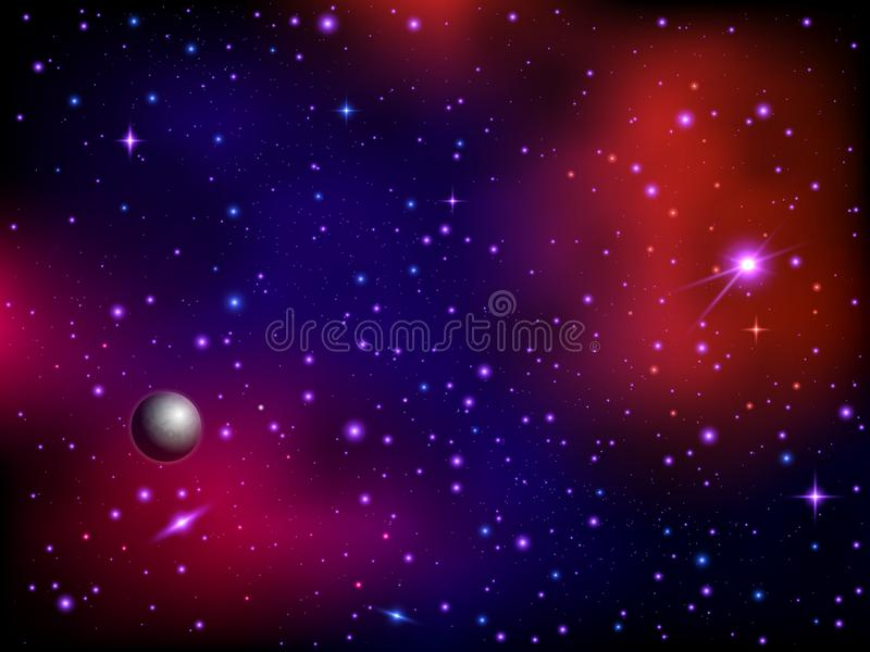 Colorful space galaxy background with planet and stars. Milky way and stardust. Artwork background. Color nebula stock illustration