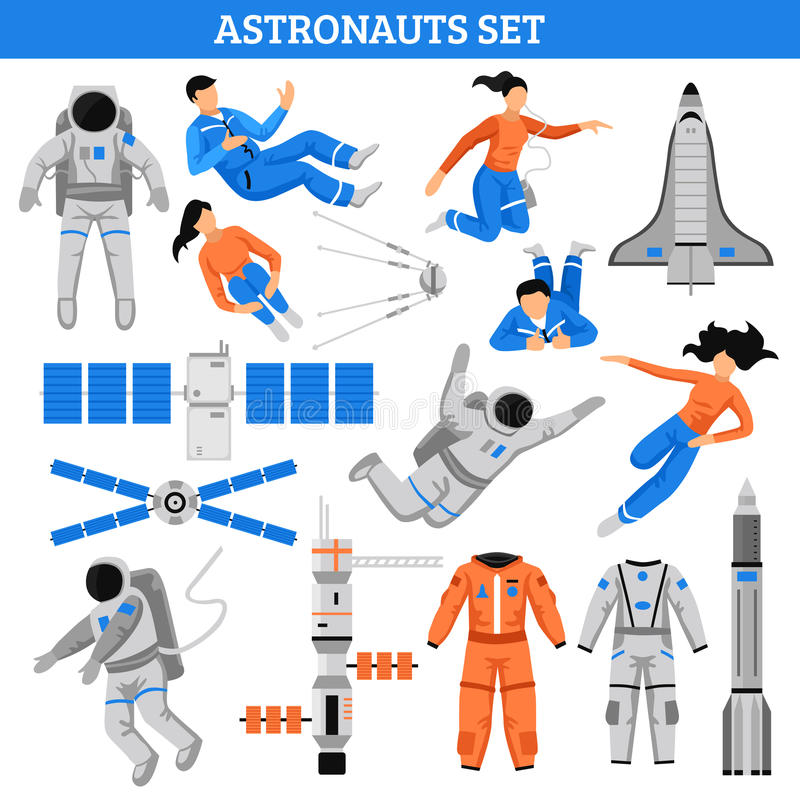 Colorful Space Set. With astronauts satellite suits craft spaceship and rocket in flat style isolated vector illustration royalty free illustration