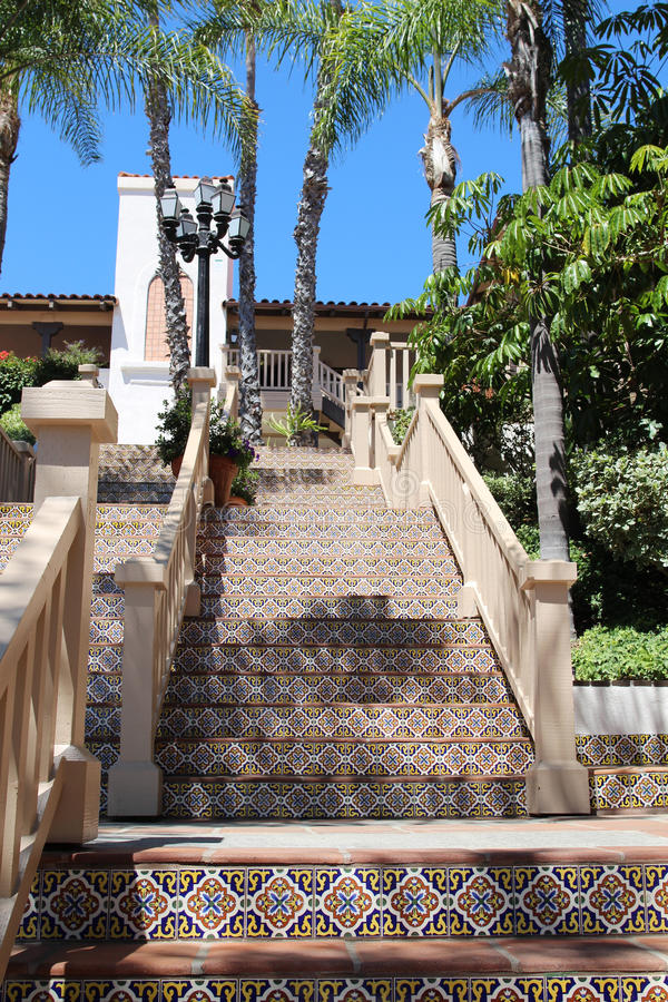 Colorful Spanish tile stairs. (view from the base of the stairs), San Diego, California royalty free stock images