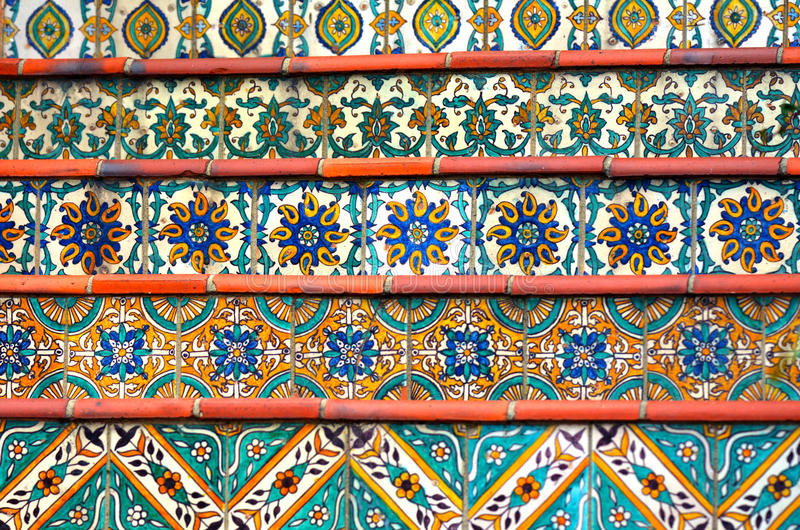 Colorful Spanish Tiles Decoration On Stairway Stock Photo Image