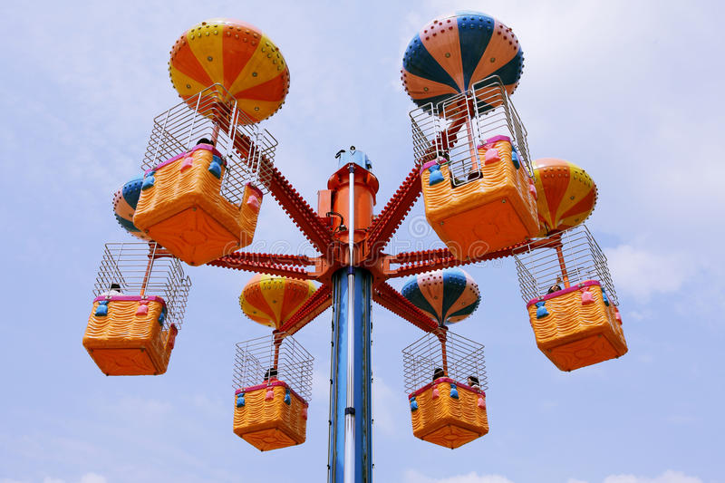 Colorful special carousel at Theme amusement park stock image