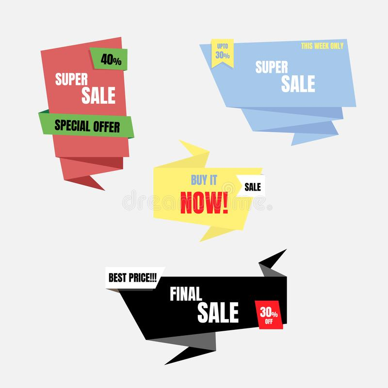 Colorful special offer sale tag price, shopping concept, banner sign discount promotion price set. Flat design, vector, illustration royalty free illustration