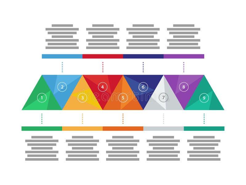 Colorful spectrum rainbow geometric triangular presentation infographic diagram chart. Vector graphic template. stock illustration