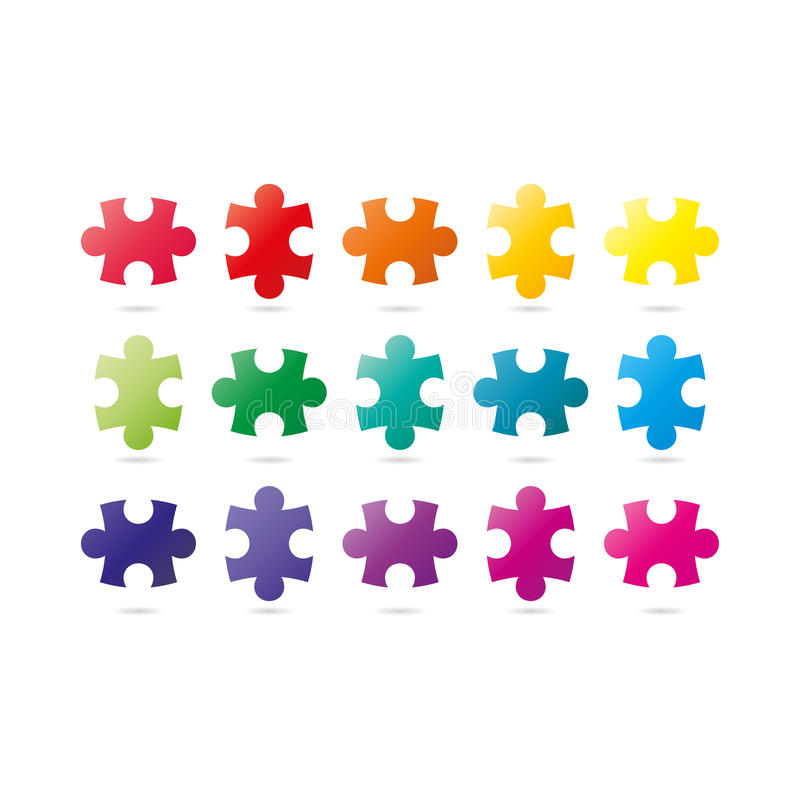 Colorful spectrum rainbow puzzle pieces collection. royalty free illustration