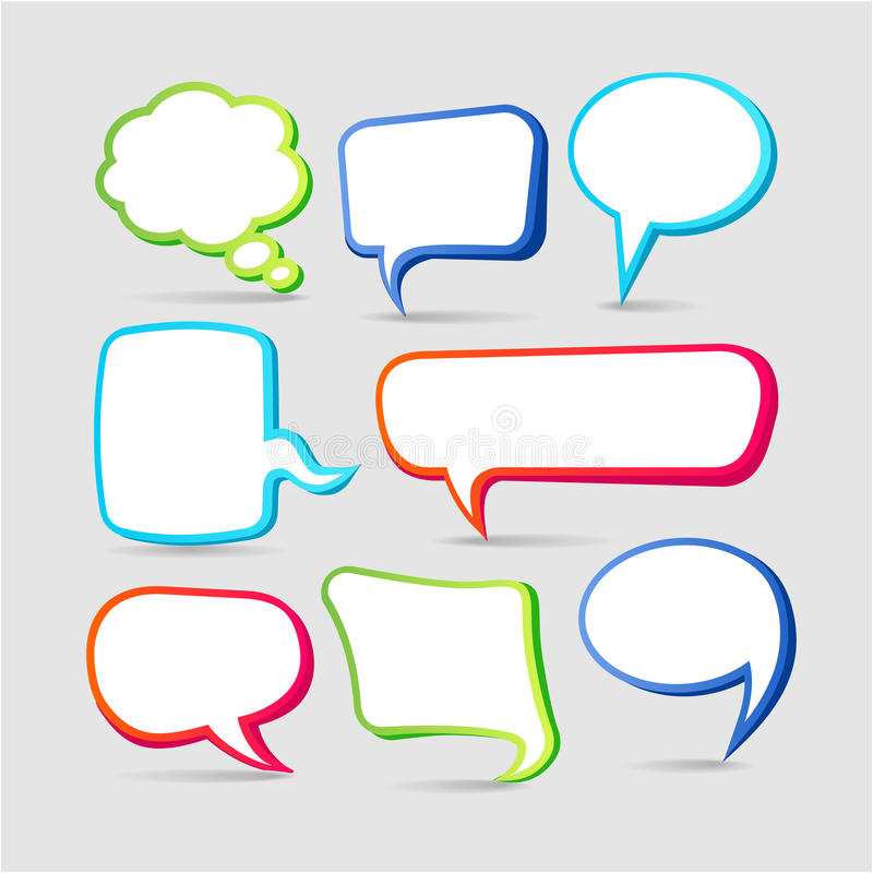 Colorful speech bubble frames stock illustration