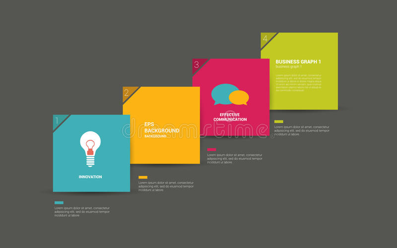 Colorful speech bubbles diagram with text fields. Infographic flat numbered template. Vector royalty free illustration