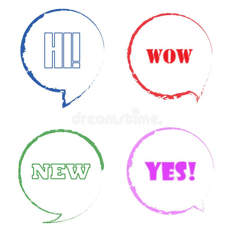 Colorful speech bubbles. Bubbles with short messages vector illustration. Set of bubbles for banners, advertising vector illustration