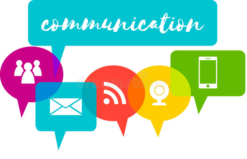 Colorful speech bubbles with word communication royalty free illustration