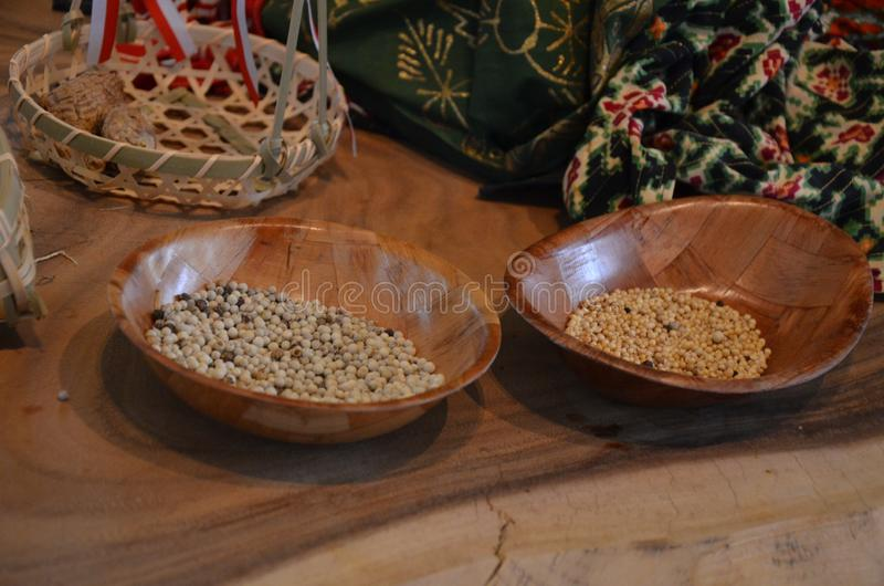 Colorful spices - Indonesia pavillon. In Expo stock images