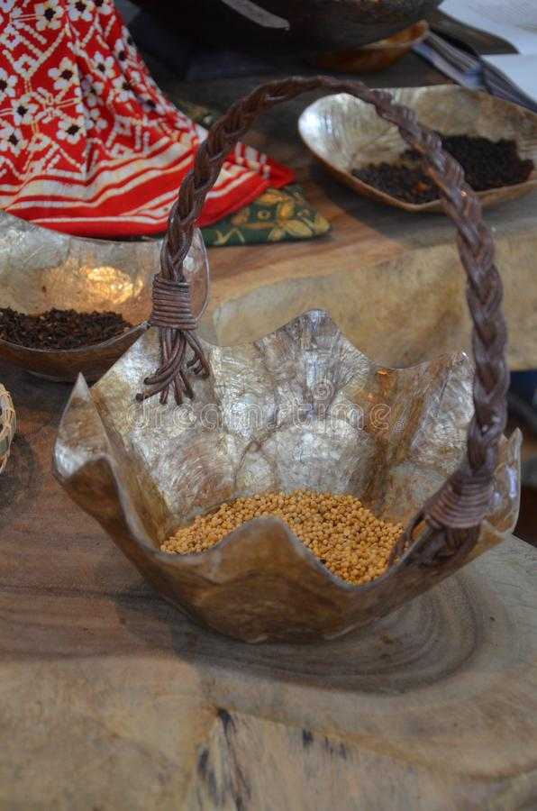 Colorful spices - Indonesia pavillon. In Expo royalty free stock photos
