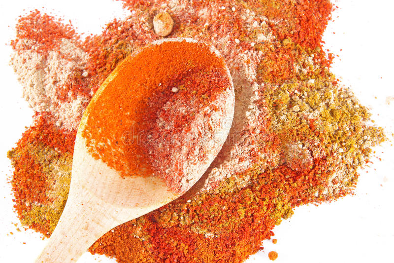 Colorful Spices With Wooden Spoon Royalty Free Stock Photo