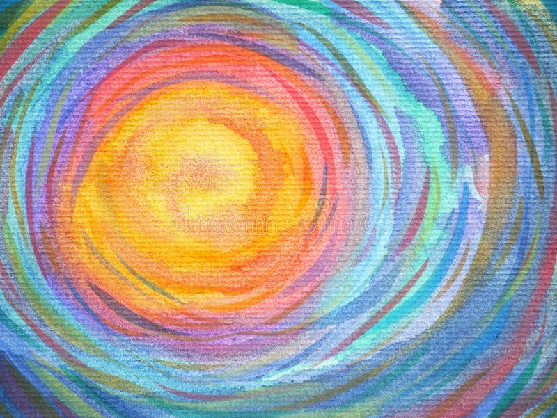 Colorful spiral sun power background watercolor painting vector illustration