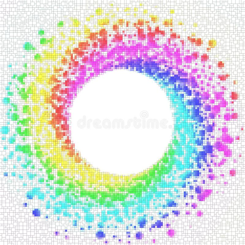 Rainbow Squares around a Circle Frame vector illustration